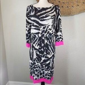 St. John Silk Animal Print Dress